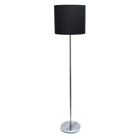 simple designs brushed nickel drum shade floor lamp white walmart com