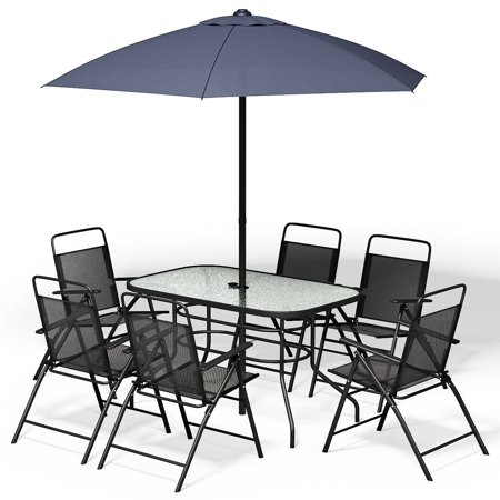 8PCS Patio Garden Set Furniture 6 Folding Chairs Table with Umbrella Gray New