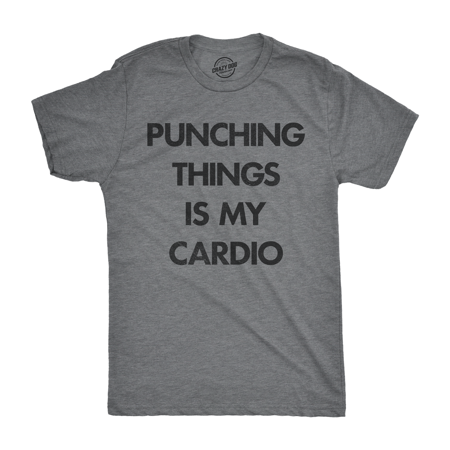 Mens Punching Things Is My Cardio T shirt Funny Workout Fitness Boxing