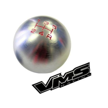 10x1.25mm Thread 5 speed Round Ball Type-R Shift Knob in Gunmetal Grey Gray Silver Billet Aluminum for Mitsubishi Eclipse GST GT RS Mirage Lancer Evolution EVO Ralliart