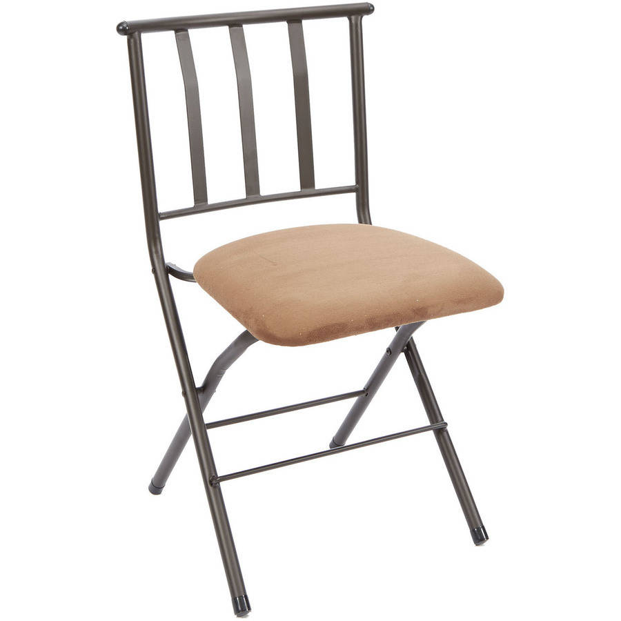 Mainstays Slat-Back Folding Dining Chair, Tan