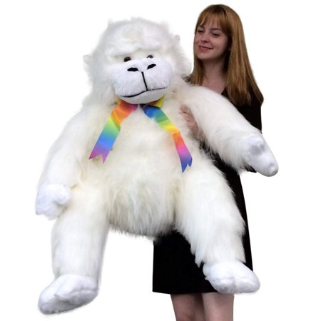 American Made Giant Stuffed White Gorilla Monkey 40 Inch Soft Big Plush Animal - Big Stuffed Monkey