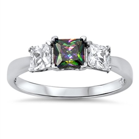 CHOOSE YOUR COLOR Simulated Princess Cut Rainbow Simulated Topaz Wholesale Ring New .925 Sterling Silver (Wholesale Cut Out)