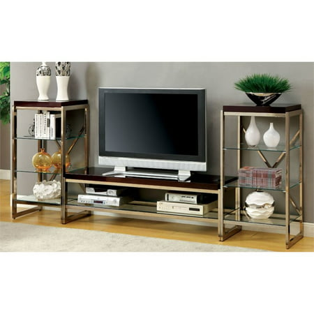 Furniture of America Ruptin 3 Piece Entertainment Center Set in Chrome