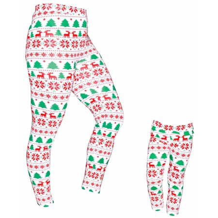 UB Womens Mommy and Me Winter Print Christmas Leggings (XXL) - Womens Christmas Leggings