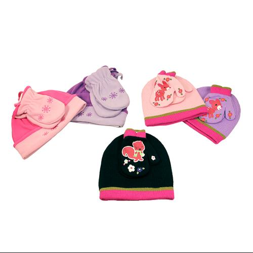 Pack of 3 Assorted Girl's Knit Winter Hat & Glove Combos with Designs - Toddler
