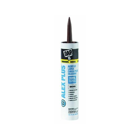 DAP 18120 ALEX PLUS Acrylic Latex Caulk Plus Silicone, 10.1 oz, Brown, 12-Pack