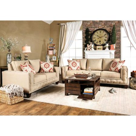 Furniture of america gina modern 2 piece beige fabric for 8 piece living room furniture set