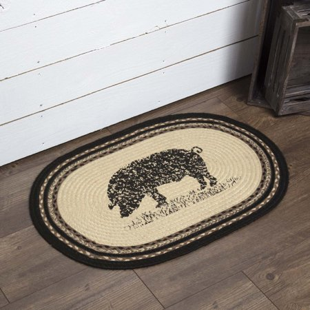Bleached White Farmhouse Flooring Miller Farm Charcoal Pig Jute Stenciled Nature Print Oval Accent Rug ()