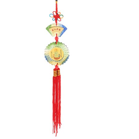 Unique Bargains Round Fan Shape Colored Glaze Dangling Pendant Chinese Knot Decor for Home Shop - image 2 of 2