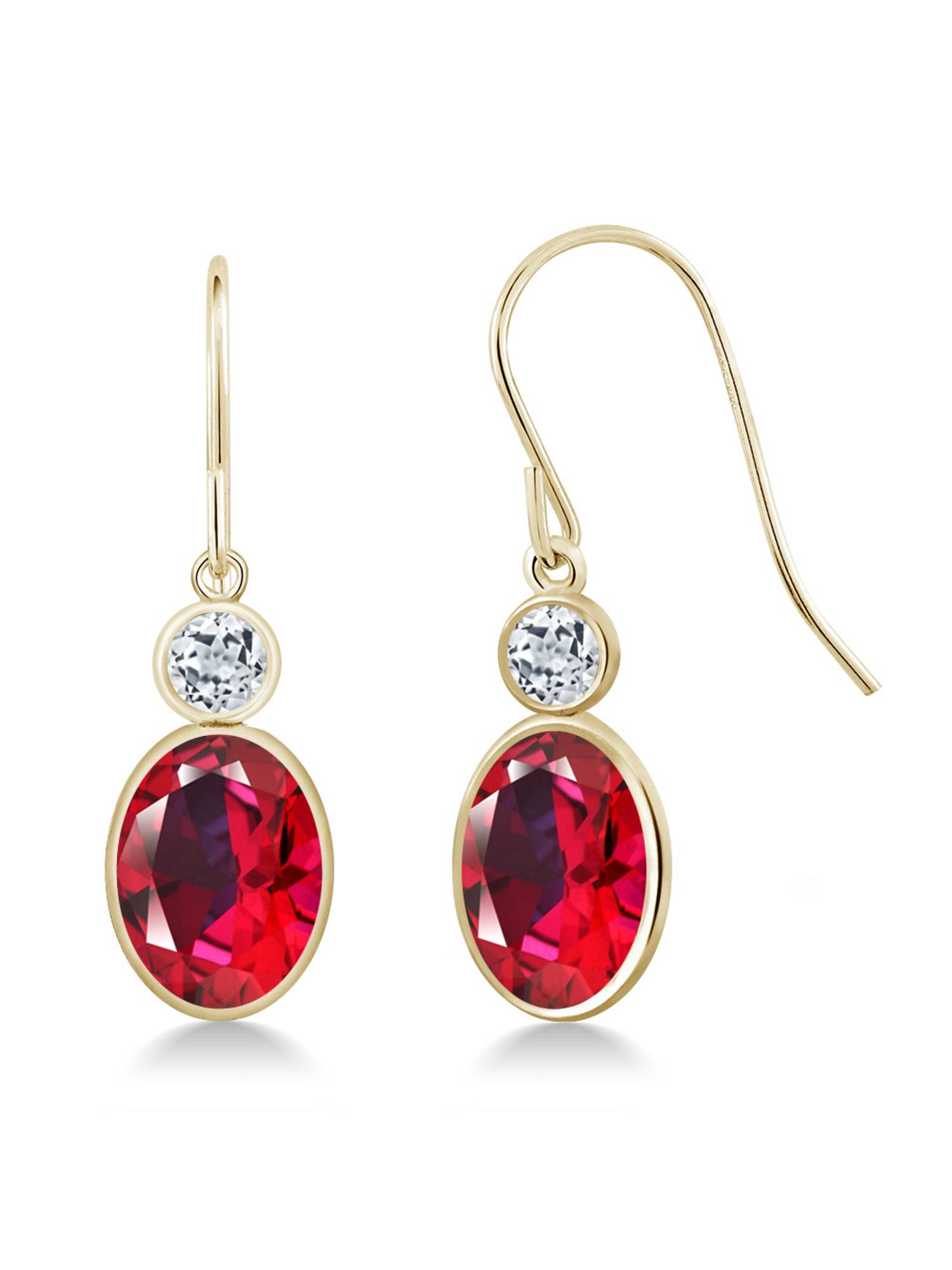 14K Yellow Gold Earrings Topaz Set with Oval Blazing Red Topaz from Swarovski by