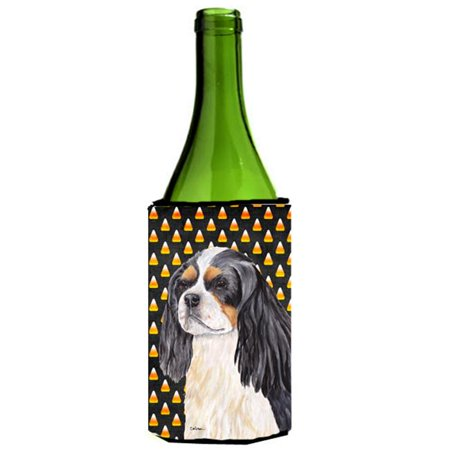 Cavalier Spaniel Tricolor Candy Corn Halloween Wine Bottle  Hugger - 24 - Wine Bottle Cork Halloween Costume