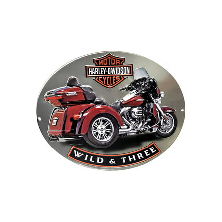 Harley-Davidson Wild & Three Motorcycle Embossed Tin Sign, 15.75 x 13 in 2011341, Harley (Motorcycle Tin Sign)