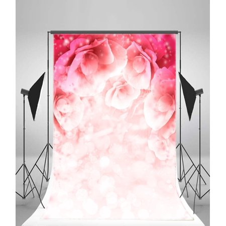 EREHome Polyester Fabric 5x7ft Photography Backdrops Powdery Red Flowers Wall Valentine's day Lover Photo Backgrounds Studio Props - image 1 of 4