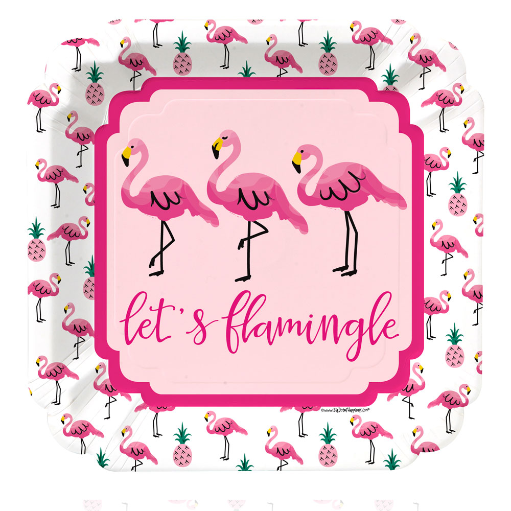 Flamingo - Party Like a Pineapple - Baby Shower or Birthday Party Dinner Plate (8 count)