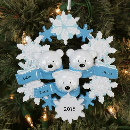 Polar Bear Wreath Family 3 Personalized Christmas Ornament DO-IT-YOURSELF