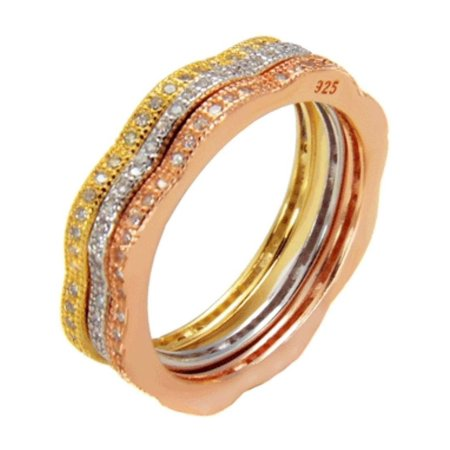 Triple Band Tri Color Stackable 5 mm wide Ring Designer 925 Silver