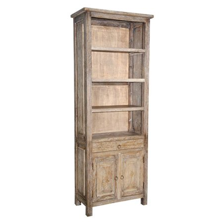 Rustic Bookcase In Gray Wash Finish