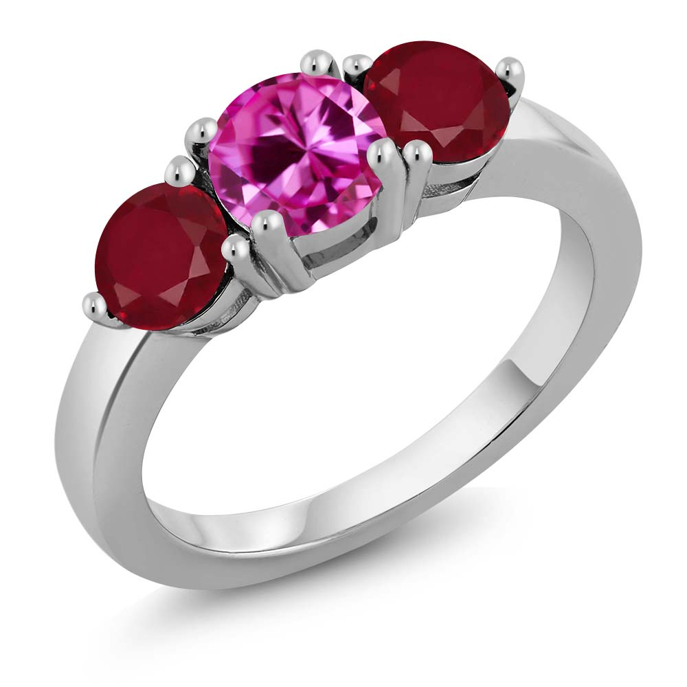 2.12 Ct Round Pink Created Sapphire Red Ruby 925 Sterling Silver Ring by