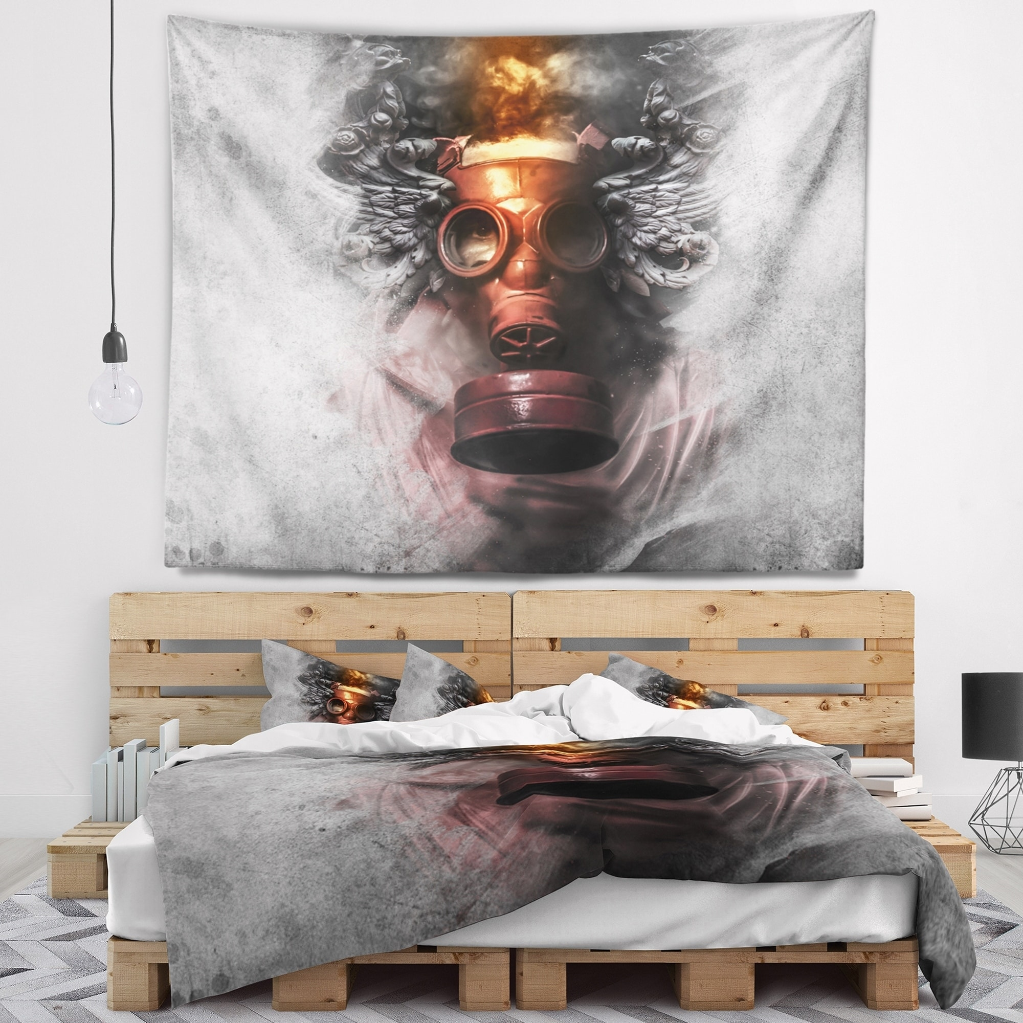 DESIGN ART Designart 'Toxic Man in Mask' Abstract Portrait Wall Tapestry