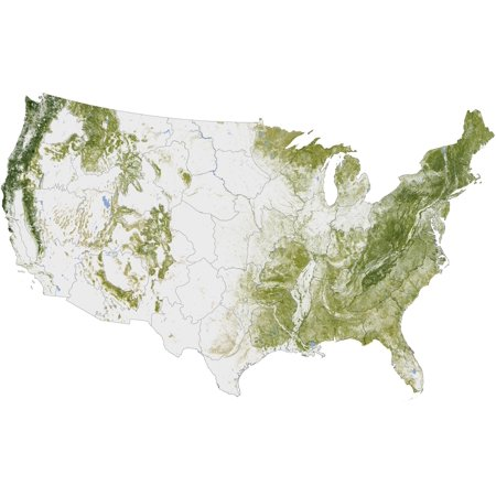 Map Of The United States Showing The Concentration Of Biomass - Us map poster walmart