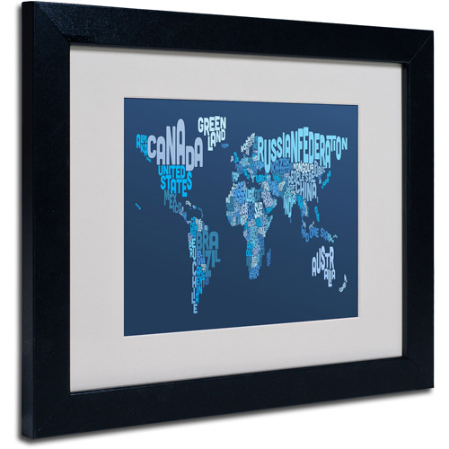 "Trademark Fine Art ""World Text Map 2"" Matted Framed Art by Michael Tompsett"