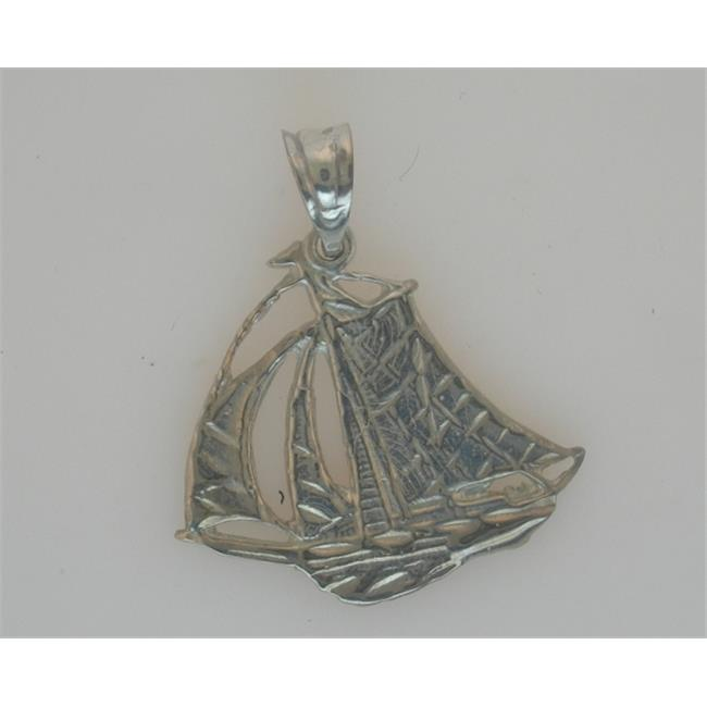 Marinas Fine Jewelry 10kt White Gold Sailboat Pendant