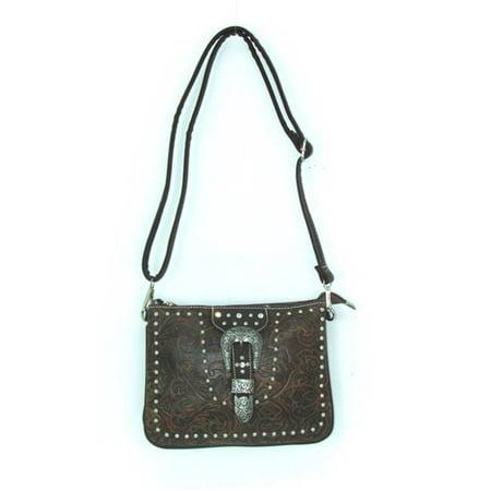 Savana No.TO-789 TN Ladies Faux Leather Tooled Crossbody Bag, Tan
