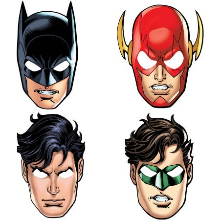 (3 Pack) Justice League Party Masks, 8ct - Shark Birthday Supplies
