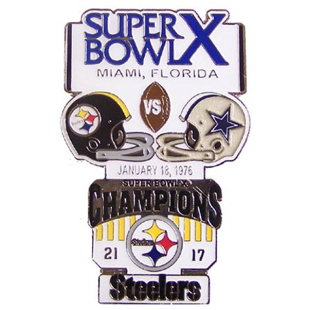 Commemorative Pin Set (Super Bowl X (10) Oversized Commemorative Pin )