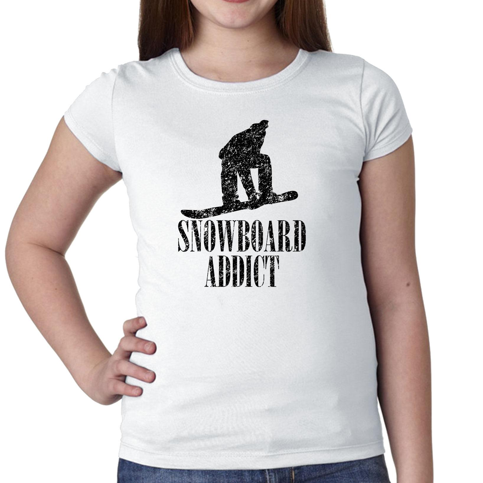 Snowboard Addict Trendy Silhouette Figure Girl's Cotton Youth T-Shirt by Hollywood Thread