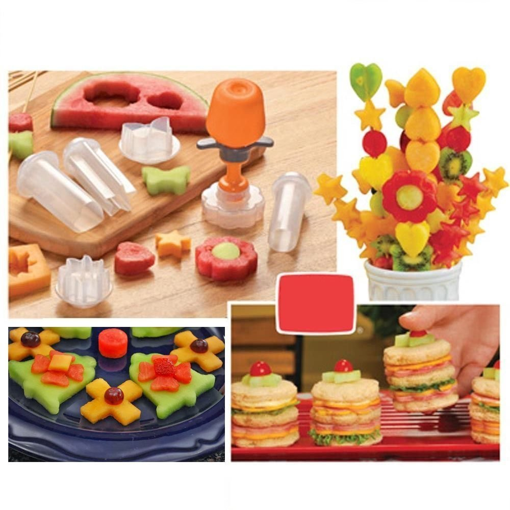 New Creative Plastic Cake Cookie Vegetable Fruit Shape Cutter Slicer Veggie Mold Set DIY Decorating Tools POP Chef by