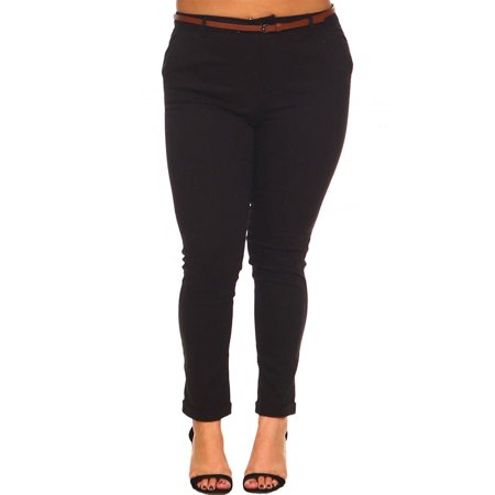 b1cd9af540fa GENx - Womens Plus Size High Waist Belted Rolled Up Casual Pants KP939-XL- Black - Walmart.com