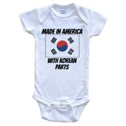 Made In America With Korean Parts South Korea Flag Funny Baby Onesie - Cute One Piece Baby Bodysuit