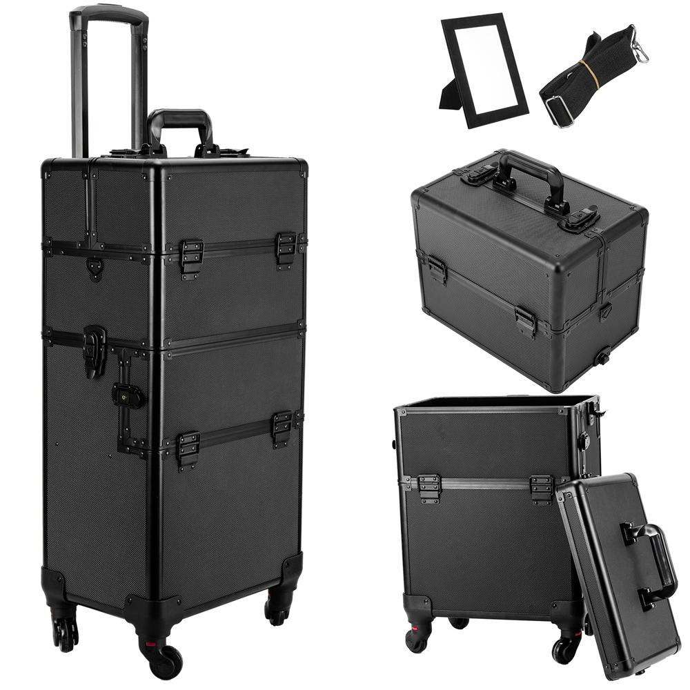 Black Wheels Rolling Cosmetic Case