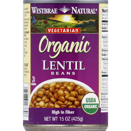 Westbrae Natural Organic Lentil Beans, 15 oz (Pack of 6)