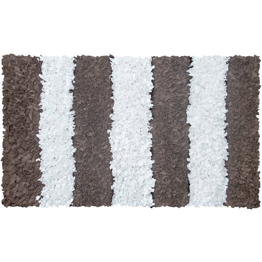 "The Rug Market Brown Stripe Shag Size 22"" x 34"" Area Rug"