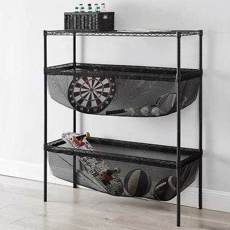 Mesh Shelving - Suprima Shelf Supreme - Bin Style - Black Frame with Black Mesh