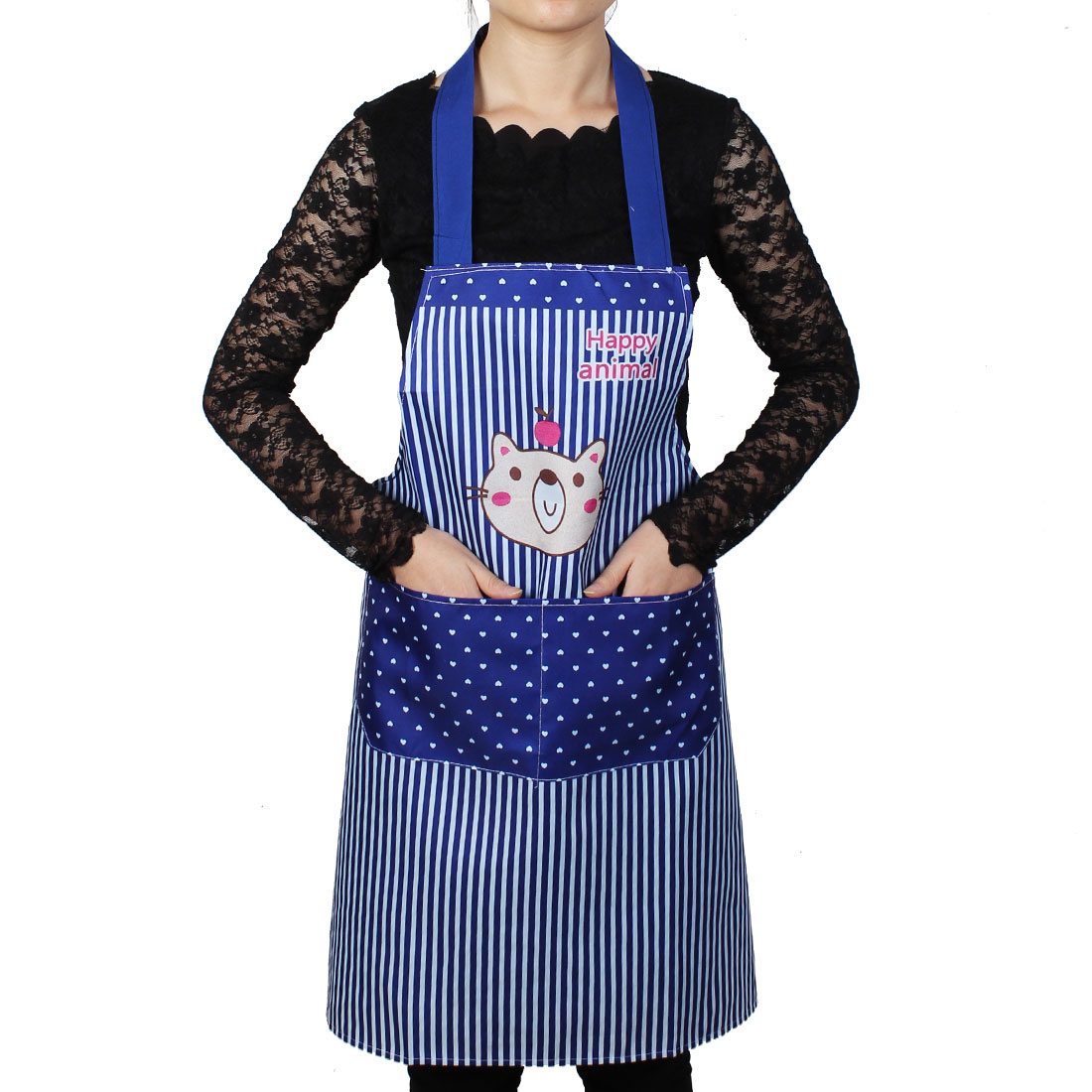 Women Kitchen Restaurant Cooking Pocket Aprons Blue