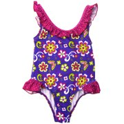 Pink Platinum Baby Girls Ruffle Cute Floral One Piece Swimsuit
