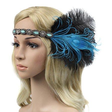 SHOPFIVE Bridal Sequin Feather Flapper Headband 1920s Headdress Headpiece Gift