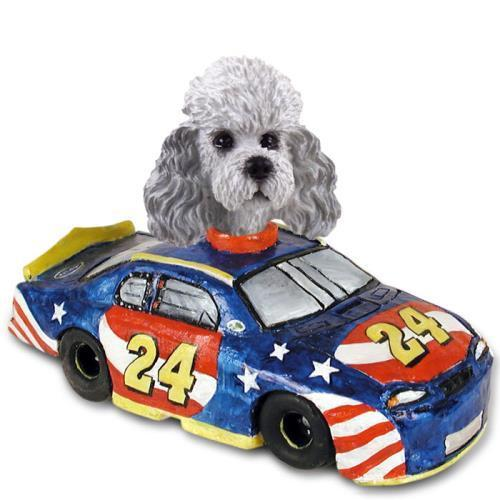 NO.DOOG104B205 Poodle Gray w/Sport Cut Race Car Doogie Collectable Figurine