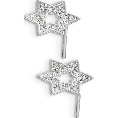 14k Yellow Gold Madi K White CZ Star of David (8x10mm) Earrings - image 2 de 3