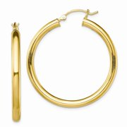 Sterling Silver Gold-Tone Polished 3x35mm Yellow Gold Plated Hoop Earrings Fine Jewelry Ideal Gifts For Women