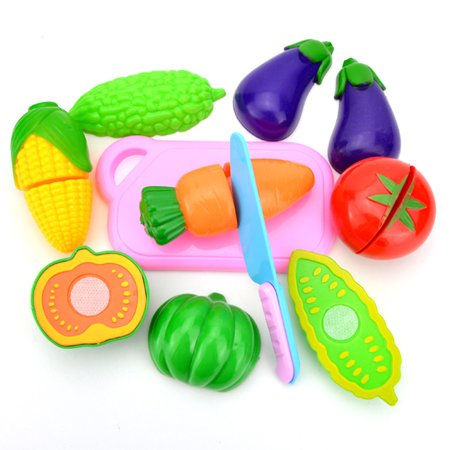 Fun Pretend Play Food (Kitchen Toy Fun Cutting Fruit & Vegetables Set Pretend Play Food Cooking Playset with Cutting Board Toy Knife Educational Toys Games 8Pcs Vegetables Set )
