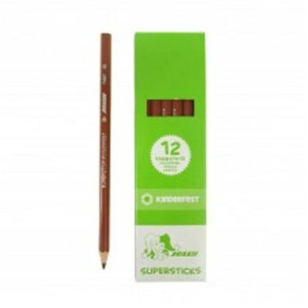American Spirit Medium Box - American Educational A-3000-0282 Supersticks Colored Pencil, Medium Brown - Box of 12