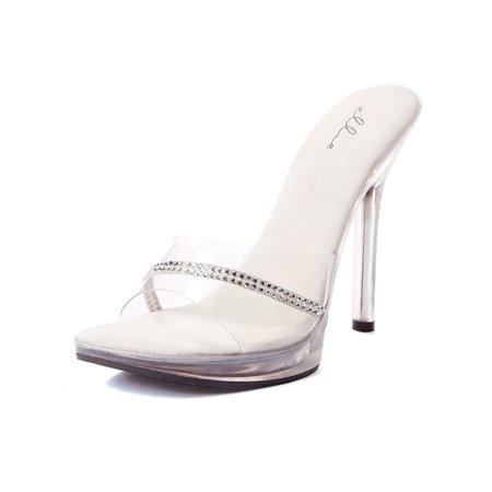 Sexy Rhinestone Slide Shoe 5 Inch Heel Womens Rhinestone Mule