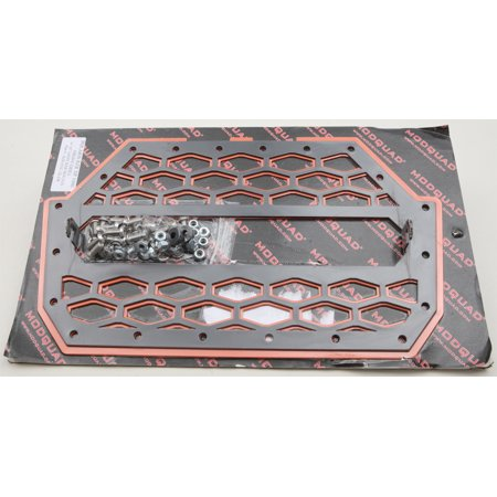 MODQUAD 2-PANEL FRONT GRILL BLACK/ORANGE W/LIGHT MOUNT RZR-FGL-1K-OR