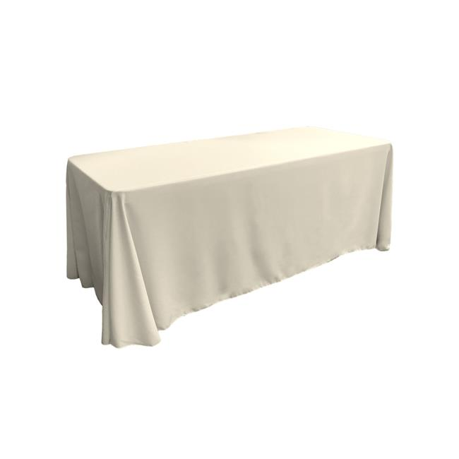LA Linen TCpop90x156-IvoryP25 Polyester Poplin Rectangular Tablecloth, Ivory 90 x 156 in. by LA Linen