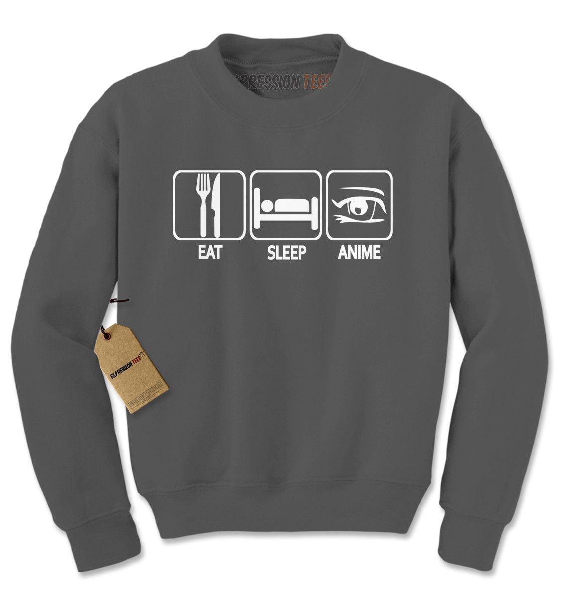 89603d4630 Expression Tees - Eat. Sleep. Anime. Adult Crewneck Sweatshirt ...